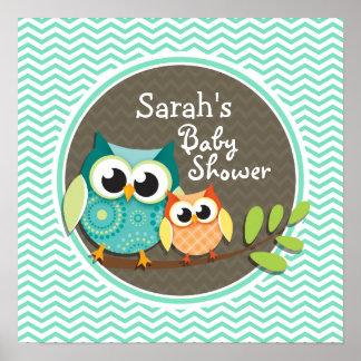 Cute Owls Aqua Green Chevron Posters