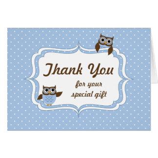 Cute Owls Baby Boy Shower Thank You Card