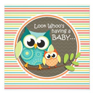Cute Owls Baby Shower Bright Rainbow Stripes Invitation