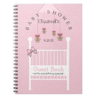 Cute Owls Baby Shower Guest Book- Spiral Note Book