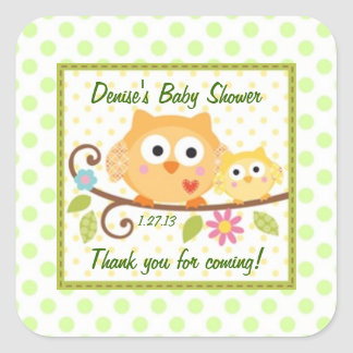 Cute Owls Baby Shower Label