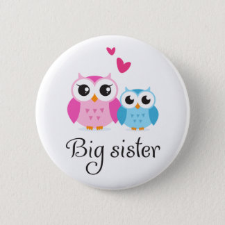 Cute owls big sister little brother cartoon 2 inch round button