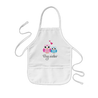 Cute owls big sister little brother cartoon kids apron