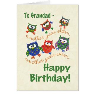 Cute Owls Birthday Card for a Grandad