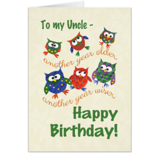 Cute Owls Birthday Card for an Uncle
