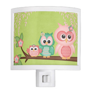 Cute Owls Branch Birds Mint Green Pink Nite Lites