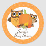 Cute Owls Fall Baby Shower Personalized Stickers