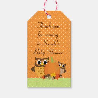 Cute Owls Fall Baby Shower Thank You Tags Pack Of Gift Tags
