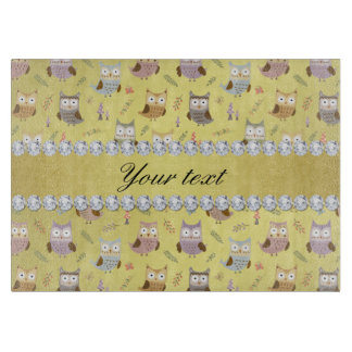 Cute Owls Faux Gold Foil Bling Diamonds Cutting Board