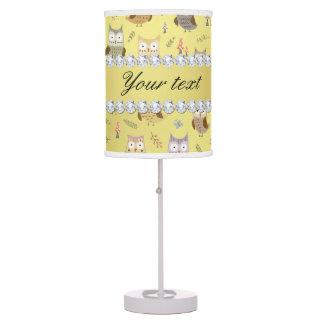 Cute Owls Faux Gold Foil Bling Diamonds Desk Lamp