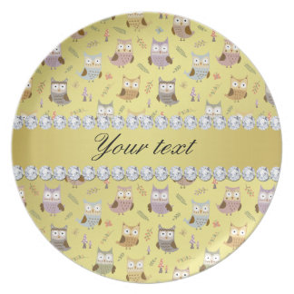 Cute Owls Faux Gold Foil Bling Diamonds Dinner Plate