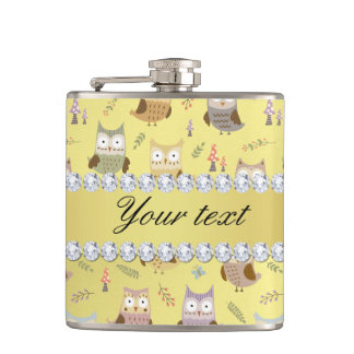 Cute Owls Faux Gold Foil Bling Diamonds Flasks