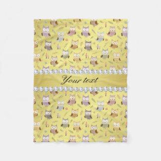 Cute Owls Faux Gold Foil Bling Diamonds Fleece Blanket