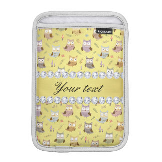 Cute Owls Faux Gold Foil Bling Diamonds iPad Mini Sleeve