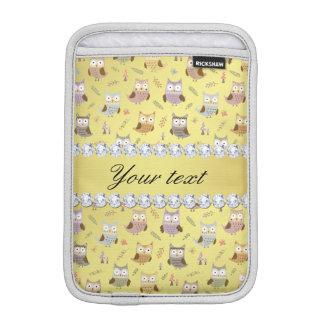 Cute Owls Faux Gold Foil Bling Diamonds iPad Mini Sleeves