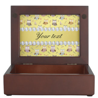 Cute Owls Faux Gold Foil Bling Diamonds Keepsake Box
