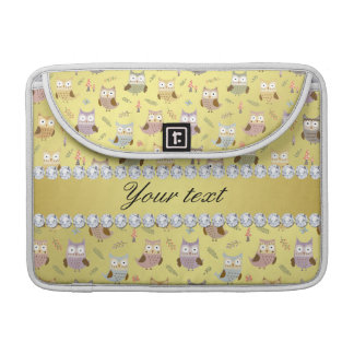 Cute Owls Faux Gold Foil Bling Diamonds MacBook Pro Sleeves