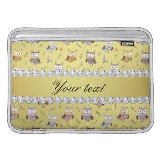 Cute Owls Faux Gold Foil Bling Diamonds MacBook Sleeve