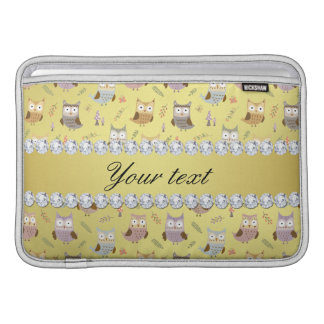 Cute Owls Faux Gold Foil Bling Diamonds MacBook Sleeves