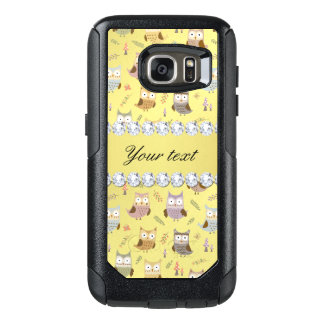 Cute Owls Faux Gold Foil Bling Diamonds OtterBox Samsung Galaxy S7 Case
