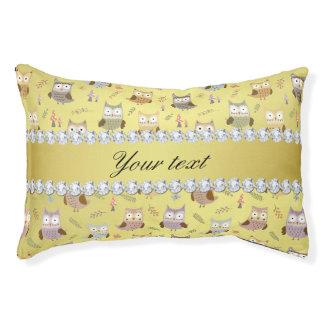 Cute Owls Faux Gold Foil Bling Diamonds Pet Bed
