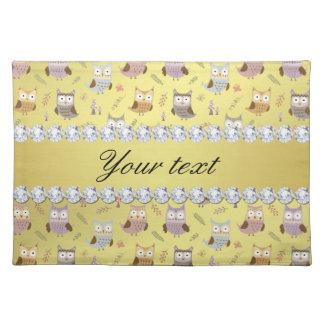 Cute Owls Faux Gold Foil Bling Diamonds Placemat