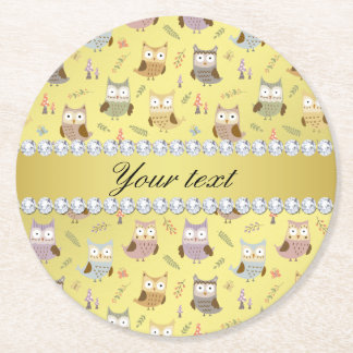 Cute Owls Faux Gold Foil Bling Diamonds Round Paper Coaster