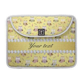 Cute Owls Faux Gold Foil Bling Diamonds Sleeve For MacBooks