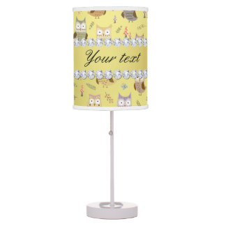 Cute Owls Faux Gold Foil Bling Diamonds Table Lamp