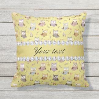 Cute Owls Faux Gold Foil Bling Diamonds Throw Pillow