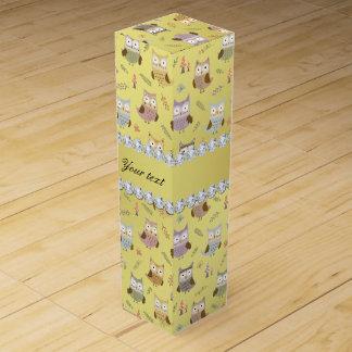 Cute Owls Faux Gold Foil Bling Diamonds Wine Gift Box