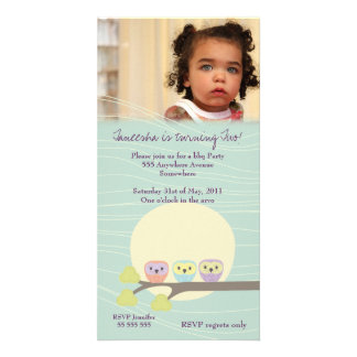 Cute Owls Girls Birthday Party Premium Invite