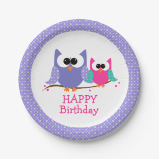 Cute Owls, Happy Birthday Kids Party Paper Plates 7 Inch Paper Plate