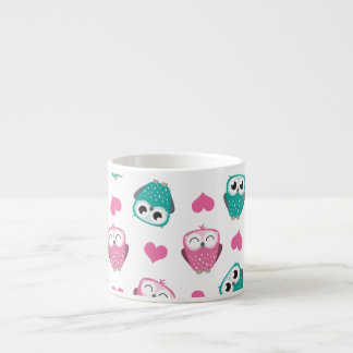 Cute Owls & Hearts Expresso Mug