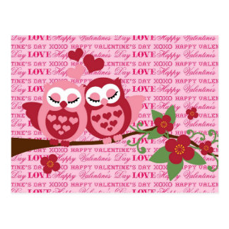 Cute Owls in Love Happy Valentine's Day Gifts Postcard
