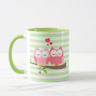 Cute Owls in Love on Branch Mint Stripes Mug