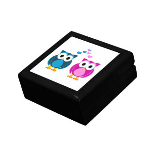 Cute Owls in Love - Pink and Blue Gift Box