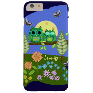 Cute Owls in Summer land & custom Name Barely There iPhone 6 Plus Case