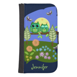 Cute Owls in Summer land & custom Name Samsung S4 Wallet Case