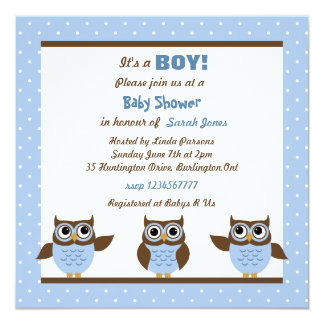 """Cute Owls It's a boy Baby Shower Invitations 5.25"""" Square Invitation Card"""
