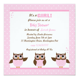 """Cute Owls It's a Girl Baby Shower Invitations 5.25"""" Square Invitation Card"""