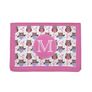 Cute Owls Monogram Girls Wallet