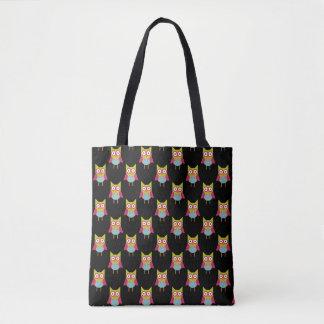 Cute Owls on Black Pattern Tote Bag