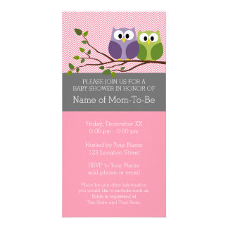 Cute Owls on Branch Baby Girl Shower Pink Picture Card