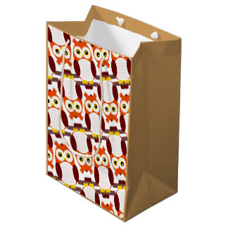 Cute Owls on Branches Medium Gift Bag