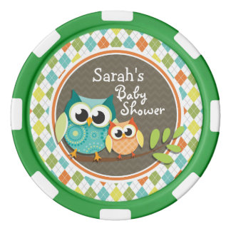 Cute Owls on Colorful Argyle; Baby Shower Poker Chip Set