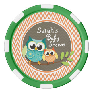Cute Owls; Orange and White Chevron; Baby Shower Set Of Poker Chips