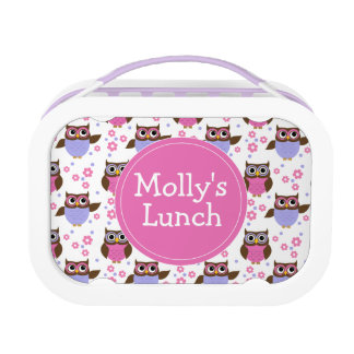 Cute Owls Pattern Personalized Lunch Box