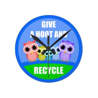 cute owls recycling wall clock