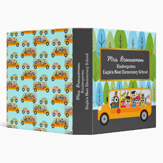 Cute Owls School Bus 3 Ring Binders